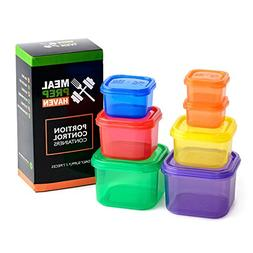 Meal Prep Haven 7 Piece Multi-Colored, Color Coded Portion C