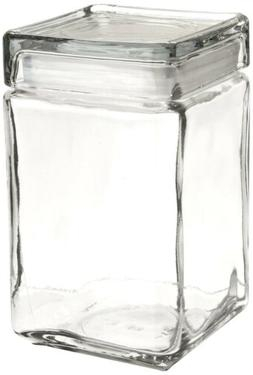 Oneida 85588R Stackable Square Glass Jar w/Glass Lid, 1.5 qt