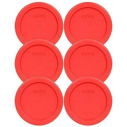 "Pyrex 7202-PC 4"" Red 1 Cup, 236mL Round Storage Lid 4 Pack B"