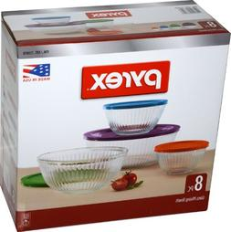 Pyrex 8 Piece Ribbed Bowl  Set Including Assorted Colored Lo