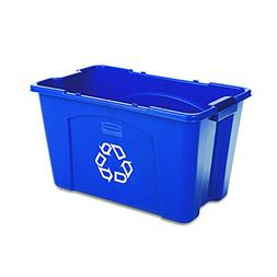 Rubbermaid Commercial Stackable Recycling Bin, 18 Gallon, Bl