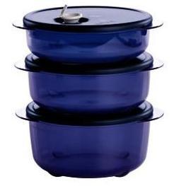 Tupperware Vent N Serve 3pc Small Round Set Nocturnal Sea Da