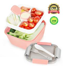 Air Tight 3-Compartment Plastic Food Container Salad Lunch B
