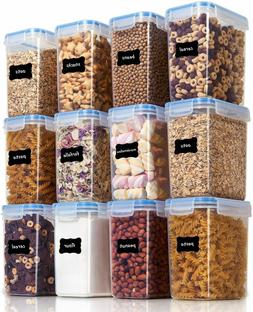 Airtight Food Storage Containers 12 Pieces 1.5qt / 1.6L- Pla