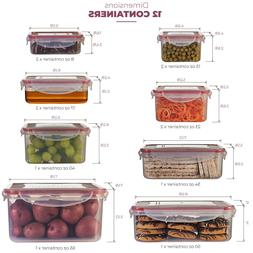 Airtight Food Storage Plastic Containers with Lids Set of 12