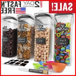Airtight Food Storage Set - Cereal Container Set of 4 - BPA