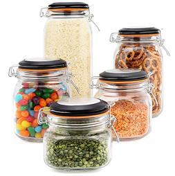 set of 5 airtight glass canisters with bail & trigger clamp