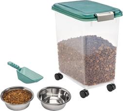 IRIS Airtight Pet Food Storage Starter Kit, Green