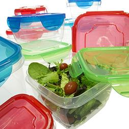 20pc Airtight Snap Locking Lid Square Plastic Nesting Food S