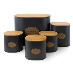 BAMBOO LIDS KITCHEN FOOD STORAGE 5 PIECE CANISTER JAR SET BR