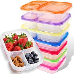 Bento Lunch Boxes for Kids & Adults - 7-Pack - Plastic Divid