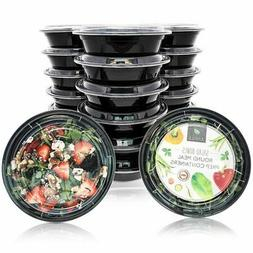 Disposable Bento Lunch Box Set - 20-Pack Round Meal Prep Con