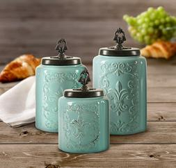American Atelier Blue Antique Set of 3 Canisters,