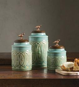 Kitchen Canister Set Blue Ceramic Wood Food Storage Containe