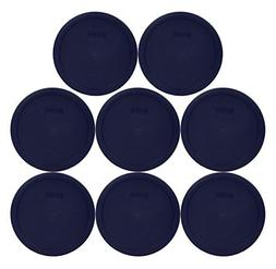 Set of 8 Pyrex Blue Round Storage Lid Cover fits 6 & 7 cup R