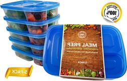 Meal Prep Lunch Containers - BPA Free Bento Boxes with Blue