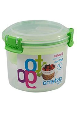 Sistema 17.9-Oz Breakfast To Go Container, Green, 2-Pack