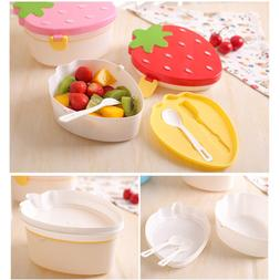Cartoon Shape Strawberry Lunch Box Food Container Storage Bo