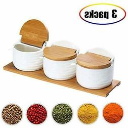Ceramic Condiment Pots Food Storage Spice Containers With Ba