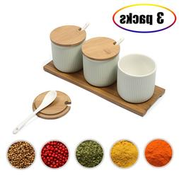 Ceramic Food Storage Spice Containers with Bamboo Lid- Porce