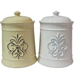 CERAMIC JAR WITH LID SET/2 ~ KITCHEN WARE ~ COOKIE JAR ~ FOO