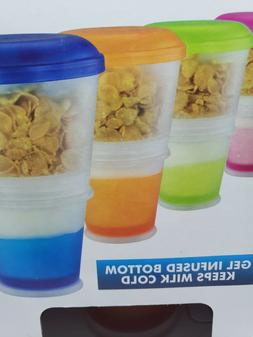 Cereal To Go Snack Food Storage Container 2 Layer Milk Cornf