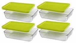 Pyrex Clear Glass Food Storage Oblong Dishes with Edamame Gr
