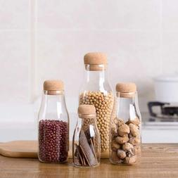 Clear Glass Sealing Storage Jar Bottle Container W Cork Top