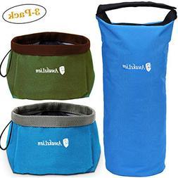 Awakelion Collapsible Dog Bowl Kit, Portable Travel Dog Food