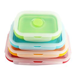Collapsible Food Storage Container, 4 pcs Silicone Bento Box