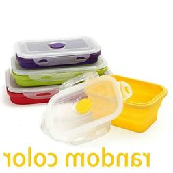 Collapsible Lunch Bento Box Silicone Food Storage Folding Bo