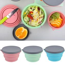 Collapsible Silicone Bowl with Lid 500ML Camping Picnic Food