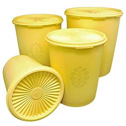 Set of 4 Tupperware Daffodil Yellow Servalier Canisters with