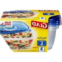Glad Deep Dish Food Container, Pack of 3, 2Pack