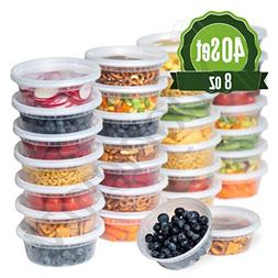 Plastic Food Storage Containers with Lids 8 oz - 40 Pack Lun