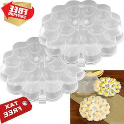 Deviled Egg Trays SET OF 2 Carrier Platters with Lids Travel