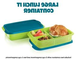 Tupperware Divided Large Lunch-It Dish Lunch Containers Gree