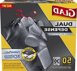Glad Dual Defense Drawstring Large Trash Bags, 30 Gallon, 50