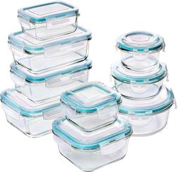 Durable Glass Food Storage SET OF 9 Glass Containers WITH Li