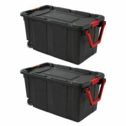 Durable Plastic Wheeled Box Storage Totes Industrial Contain