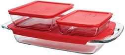 Pyrex 6-Piece Easy Grab Value Pack with Plastic Covers, Glas