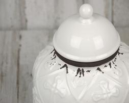 Farmhouse chic worn distressed white & brown ceramic Christi