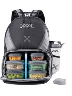 JAXX FitPak Meal Prep Bag Backpack Black Gray Food Organised