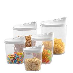 5Pcs Food Container Saver with Pour Lids Kitchen Food Sealed