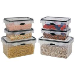 Food Storage 12 Piece Set Rectangular Air Tight Plastic Cont