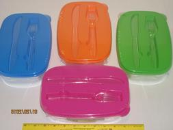 Food Storage Container Two Compartments w/Knife & Fork - Kid