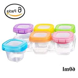 6 Pack Food Storage Containers 60 ml, Baby Weaning Bowls Fre