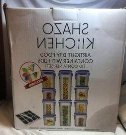 Shazo Food Storage Containers 20-Piece Set  - Airtight Dry F
