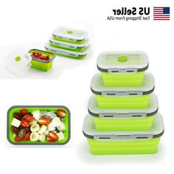 Food Storage Containers, Collapsible Reusable Silicone Lunch