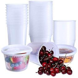 48 Pack Food Storage Containers with Lids 8oz 16oz 32oz Plas